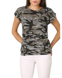 Izabel London - Multicolor Camouflage Print Marl Knit T-shirt - Lyst