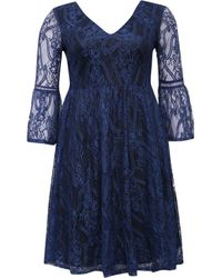 Lost Ink   Blue Curve Skater Dress With Lace Bell Sleeve   Lyst