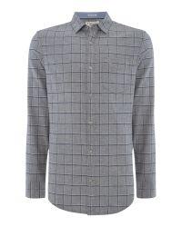 Original Penguin | Gray Brushed-flannel Windowpane-check Shirt for Men | Lyst