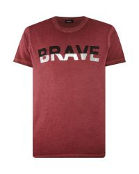 DIESEL   Red Brave Graphic Crew Neck T-shirt for Men   Lyst