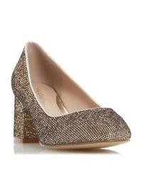Dune   Metallic Agnitha Block Heel Court Shoes   Lyst