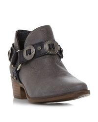 Steve Madden   Gray Aces Belt And Hardware Ankle Boots   Lyst