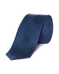 HUGO | Blue Solid Silk Tie for Men | Lyst