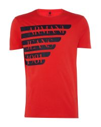 Armani Jeans | Red Regular Fit Large Logo Wing T-shirt for Men | Lyst