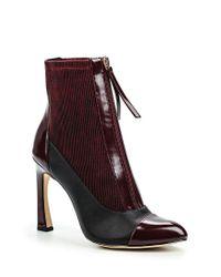 Lost Ink - Purple Avis Zip Front Stiletto Ankle Boots - Lyst