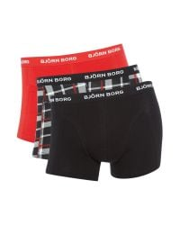 Björn Borg | Red 3 Pack Of Contrast Check And Plain Trunks for Men | Lyst