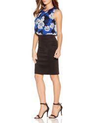 Quiz - Blue Chiffon Floral Bubble Dress - Lyst