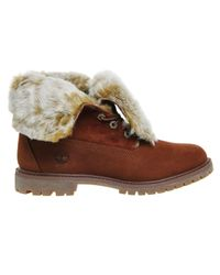 Timberland | Brown Fur Fold Down Boots | Lyst