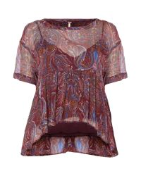 Free People | Purple Say You Will Short Sleeve Top In Plum | Lyst