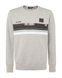 DIESEL   Gray Front Stripe Block Sweat Top for Men   Lyst