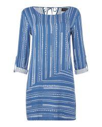 MINKPINK | Blue Tangier Striped Long Sleeve Swing Dress | Lyst