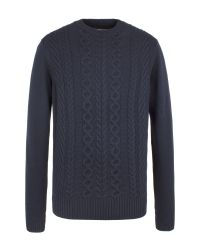 Ben Sherman | Blue The Cable Front Crew Neck for Men | Lyst