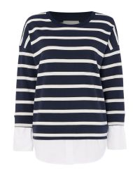 Part Two | Blue Layered Shirt Stripe Jumper | Lyst