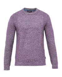 Ted Baker | Purple Debut Textured Crew Neck Jumper for Men | Lyst