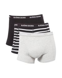Björn Borg | Black 3 Pack Stripe And Solid Trunks for Men | Lyst