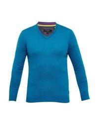 Ted Baker | Blue Alterna Silk-blend V-neck Jumper for Men | Lyst