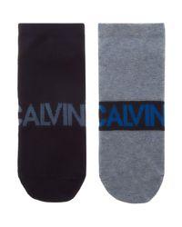 Calvin Klein | Blue 2-pack Large Logo Angle Sock for Men | Lyst