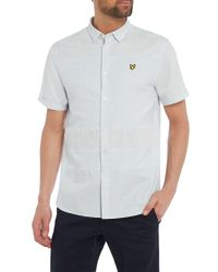 Lyle & Scott - Blue Textured Short Sleeve Stripe Shirt for Men - Lyst