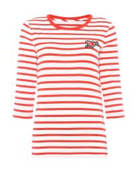 Tommy Hilfiger | Red Stripe Heart Badge T-shirt | Lyst
