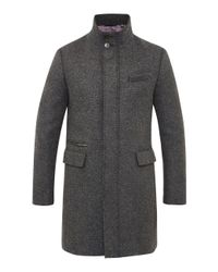 Ted Baker | Gray Uplog Funnel Neck Overcoat for Men | Lyst