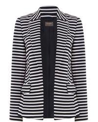 Oasis | Black Stripe Ponte Jacket | Lyst