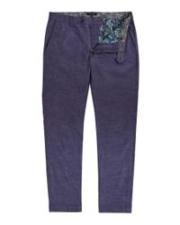 Ted Baker   Blue Shiresy Slim Fit Stretch Cotton Trousers for Men   Lyst