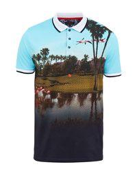 Ted Baker | Blue Dormie Flamingo Print Golf Polo Shirt for Men | Lyst