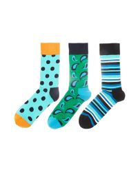 Happy Socks - Blue Hs By 3 Pack for Men - Lyst