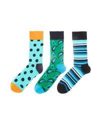 Happy Socks | Blue Hs By 3 Pack for Men | Lyst
