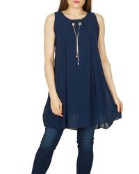 Izabel London - Blue Necklace Trim Tunic Top - Lyst