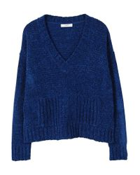 Mango - Blue Chenille Sweater - Lyst