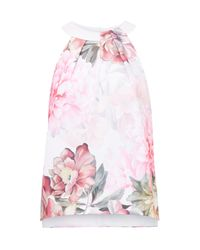 Ted Baker | Pink Chelle Painted Posie Twist Neck Top | Lyst