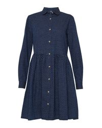 French Connection - Blue Indigo Cross Long Sleeved Gathered Shirt Dress - Lyst