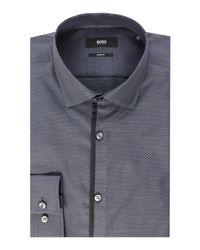 93d44cdc Boss Men's Jeldrick Slim Fit Contrast Plackett Shirt in Gray for Men ...