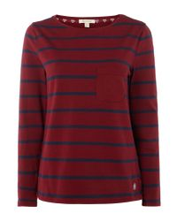 Barbour - Red Long Sleeved Beachley Top - Lyst