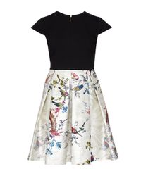 Ted Baker - Black Opulent Fauna Contrast Skirt Dress - Lyst