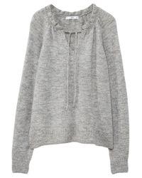 Mango - Gray Ruffled Detail Sweater - Lyst