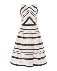 Eliza J - Black Fit And Flare Contrast Striped Dress - Lyst