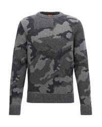 BOSS Orange - Multicolor Knitted Sweater With 3d Camouflage Pattern for Men - Lyst