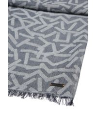 BOSS Orange - Gray Patterned Jacquard Scarf In A Cotton Blend for Men - Lyst