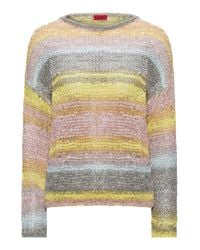 HUGO - Multicolor Cropped Sweater In Multicolour Tape Yarn - Lyst