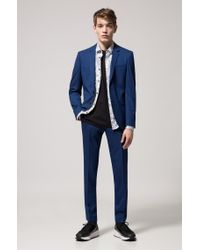 HUGO Black Extra-slim-fit Cotton Shirt With Seasonal Print for men
