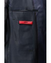 HUGO | Blue Regular-fit Suit In Patterned Virgin Wool for Men | Lyst