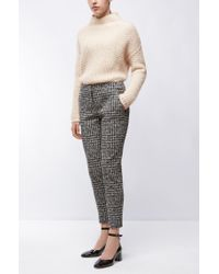 HUGO - Natural Funnel-neck Sweater In A Structured Knit - Lyst