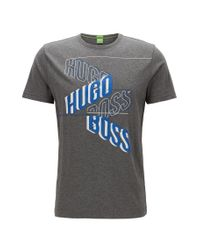BOSS Green - Gray Regular-fit Printed T-shirt In Single Jersey for Men - Lyst