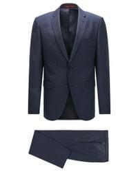 HUGO - Blue Regular-fit Suit In Patterned Virgin Wool for Men - Lyst