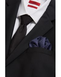 HUGO | Blue Dot-print Pocket Square In Soft Silk for Men | Lyst
