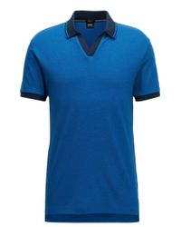 BOSS - Blue Slim-fit Two-tone Polo Shirt In Pima Cotton With Open Collar for Men - Lyst
