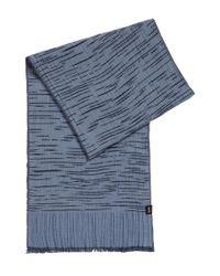 BOSS Blue Stretch-cotton Scarf In Space-dye Jacquard Pattern for men