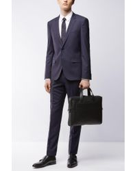 HUGO - Blue Extra-slim-fit Suit In Mélange Virgin Wool for Men - Lyst